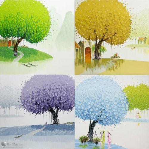 Bộ 4 Bức Tranh Bốn Mùa Xuân Hạ Thu Đông