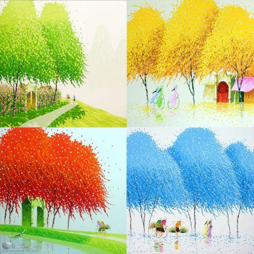Bộ 4 Bức Tranh Phong Cảnh Bốn Mùa