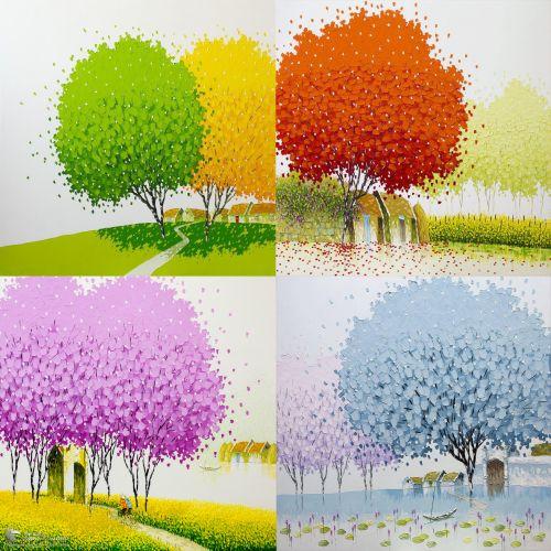 Bộ 4 Bức Tranh Sơn Dầu Phong Cảnh Bốn Mùa Đẹp