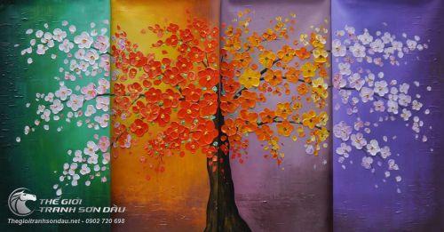 Bộ Tranh Vẽ Bốn Mùa Xuân Hạ Thu Đông