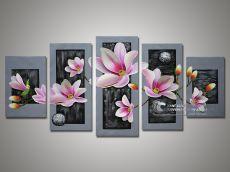 Tranh Bộ Hoa Cánh Nổi 3D Màu Hồng Nền Xám Cao Cấp Giá Tốt