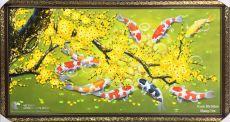 Tranh Cá Chép Và Hoa Mai Đắp Dày Tông Xanh Lá