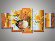 Tranh Sơn Dầu Bộ Hoa 5 Tấm Cánh Nổi 3D Nền Vàng Hoa Vàng Đẹp