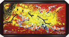 Tranh Sơn Dầu Cá Chép Hoa Mai Nền Màu Đỏ