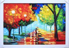 Tranh Sơn Dầu Phong Cảnh Hàng Cây Vẽ Dày Màu Đẹp