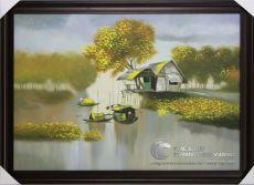 Tranh Sơn Dầu Phong Cảnh Sông Nước Quê Nhà