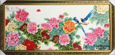 Tranh Sơn Dầu Phong Thủy Vườn Hoa Mẫu Đơn Và Đôi Chim