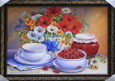 Tranh Sơn Dầu Tĩnh Vật Bình Hoa và Tách Trà Treo Phòng Bếp