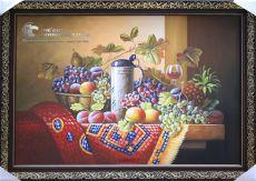 Tranh Sơn Dầu Tĩnh Vật Trái Cây và Phích Nước Treo Bếp Đẹp Rẻ