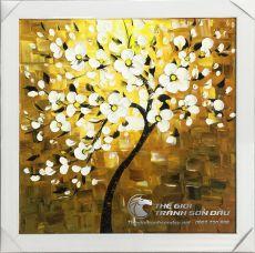 Tranh Sơn Dầu Vẽ Cây Hoa Dày Màu Nghệ Thuật