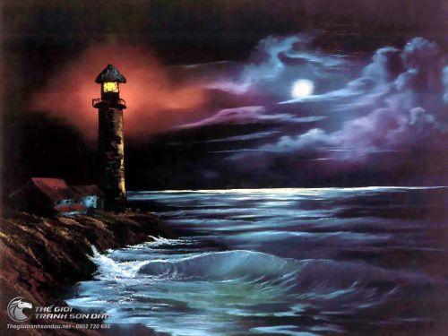 Tranh Biển Đêm Và Ngọn Hải Đăng