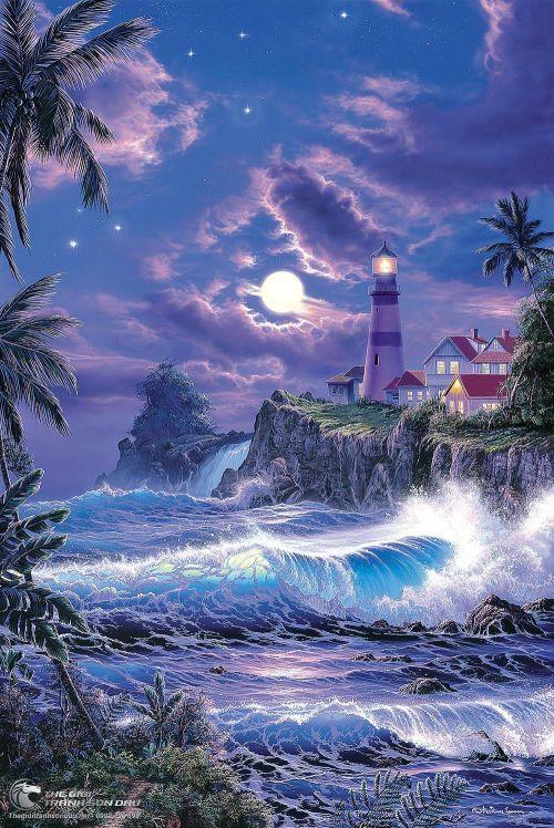 Tranh Biển Đêm Và Vách Núi Cheo Leo
