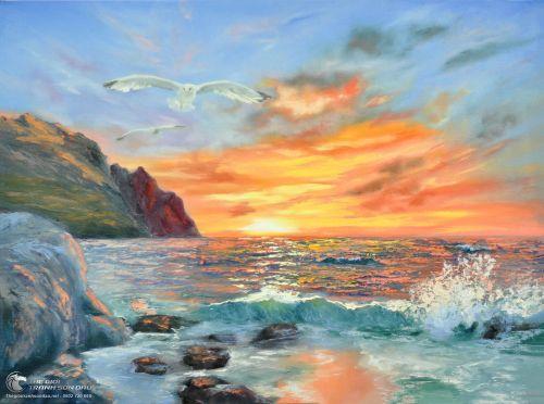 Tranh Biển Và Hoàng Hôn Tuyệt Đẹp