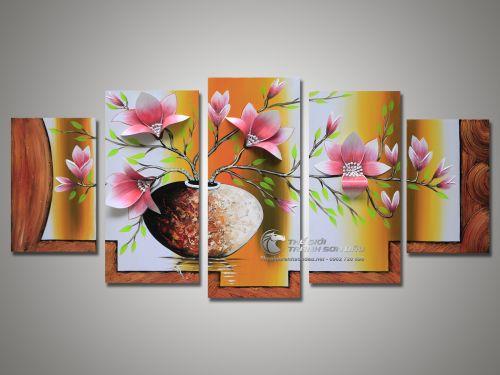 Tranh Sơn Dầu Bộ Hoa 5 Tấm Cánh Nổi 3D Nền Vàng Hoa Hồng Đẹp
