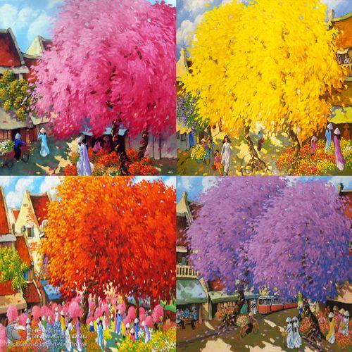 Tranh Bốn Mùa Xuân Hạ Thu Đông Màu Sắc Trẻ Trung