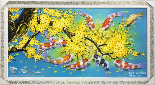 Tranh Cá Chép Hoa Mai Nền Xanh Trời