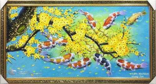 Tranh Cá Chép Hoa Mai Xanh Trời
