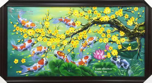 Tranh Cá Chép Phong Thủy Hoa Mai Hoa Sen