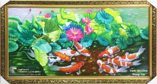 Tranh Cá Chép Trong Hồ Hoa Súng