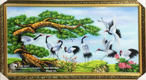 Tranh Cây Tùng Và Chim Hạc