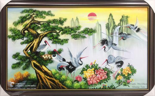 Tranh Cây Tùng Và Đàn Chim Hạc Tám Con