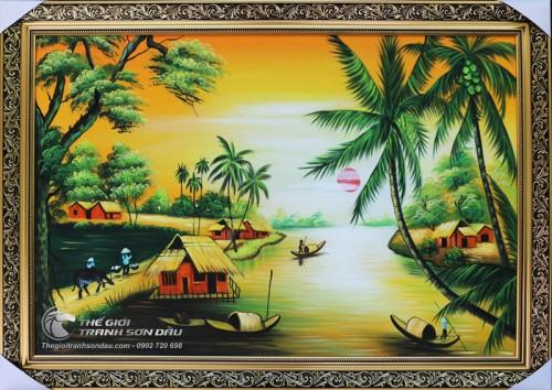Tranh Con Sông Quê Hương Hoàng Hôn