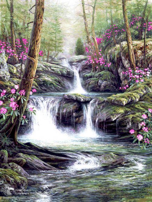 Tranh Con Suối Giữa Rừng và Hoa Dại Đẹp