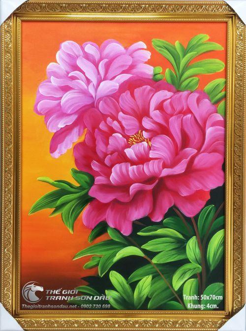 Tranh Hai Bông Hoa Mẫu Đơn