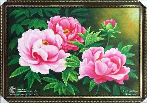 Tranh Hoa Mẫu Đơn Phong Thủy Bốn Bông