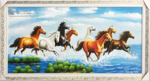 Tranh Mã Đáo Thành Công Ngựa Chạy Dưới Mây Xanh