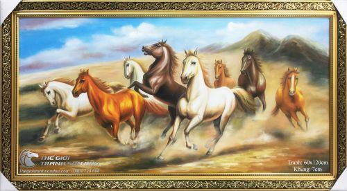 Tranh Mã Đáo Thành Công Ngựa Chạy Trên Cát