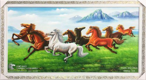 Tranh Mã Đáo Thành Công Ngựa Chạy Trên Cỏ