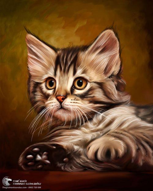 Tranh Mèo Con Dễ Thương Vẽ Sơn Dầu