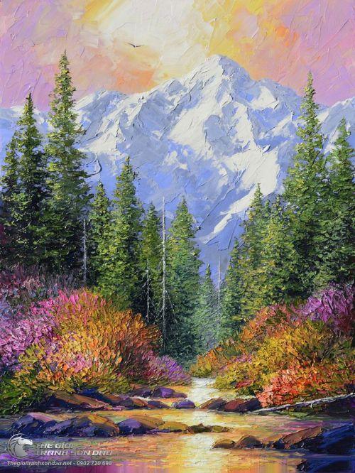 Tranh Núi Rừng Thiên Nhiên Vẽ Trát Bay Đẹp