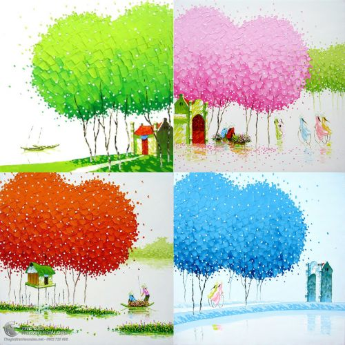 Tranh Phong Cảnh Bốn Mùa Xuân Hạ Thu Đông