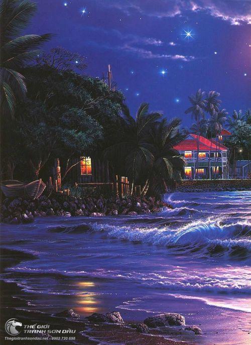 Tranh Phong Cảnh Biển Đêm Sóng Vỗ Rì Rào