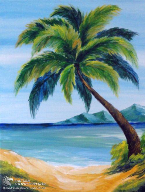 Tranh Vẽ Phong Cảnh Biển Và Cây Dừa