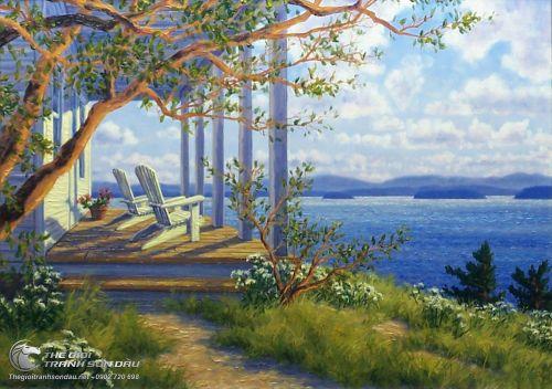 Tranh Phong Cảnh Biển Và Ngôi Nhà Trắng