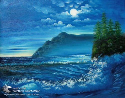 Tranh Phong Cảnh Biển Xanh Sóng Vỗ