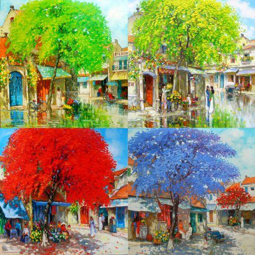 Tranh Phong Cảnh Bốn Mùa Xuân Hạ Thu Đông Đẹp