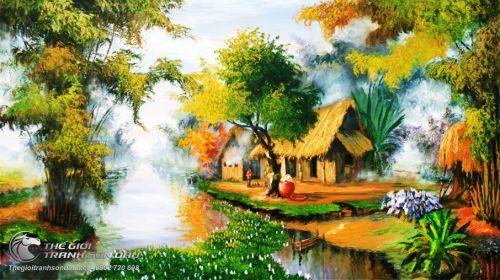 Tranh Phong Cảnh Làng Quê Bình Yên Buổi Sớm Mai