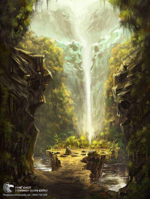 Tranh Phong Cảnh Thác Nước Trong Rừng Đẹp
