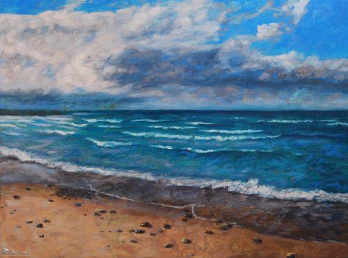 Tranh Phong Cảnh Vẽ Biển Sóng Vỗ Rì Rào