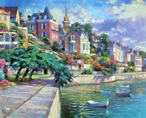 Tranh Phong Cảnh Vẽ Biển Ven Thành Phố
