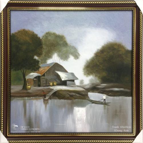Tranh Quê Hương Ngôi Nhà Bên Dòng Sông