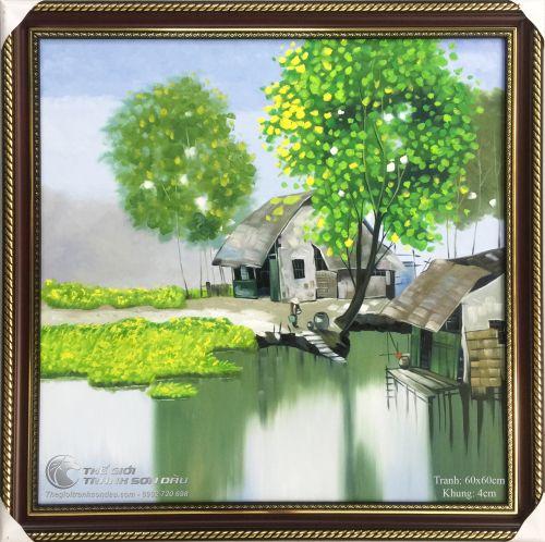 Tranh Quê Hương Ngôi Nhà Bên Sông