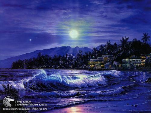 Tranh Sơn Dầu Biển Đêm Và Ánh Trăng