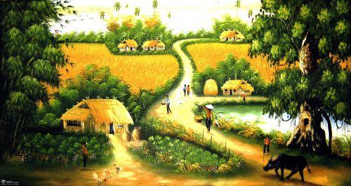 Tranh Sơn Dầu Con Đường Làng Quê