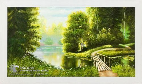 Tranh Sơn Dầu Phong Cảnh Cây Cầu Gỗ