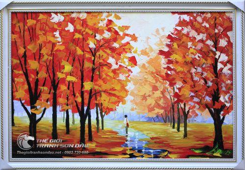 Tranh Sơn Dầu Phong Cảnh Cây Lá Đỏ Vẽ Dày Màu Đẹp Bền Rẻ